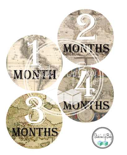Vintage Map | Monthly Baby Stickers | Stick'em Up Baby™