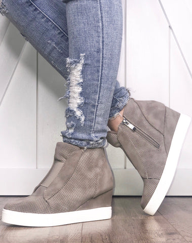 Zoey Wedge Sneakers, Taupe
