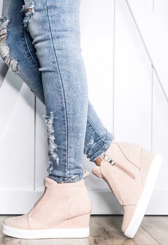 Zoey Wedge Sneakers, Blush