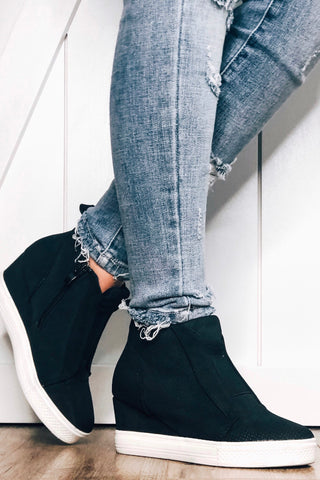 Zoey Wedge Sneakers, Black