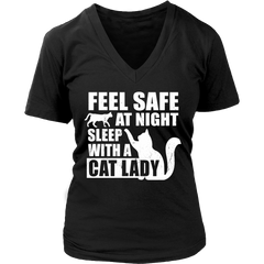 Feel Safe at Night Sleep with a Cat Lady-  Super Soft Designer  V- Neck Cotton T-Shirt All Regular and Plus Sizes