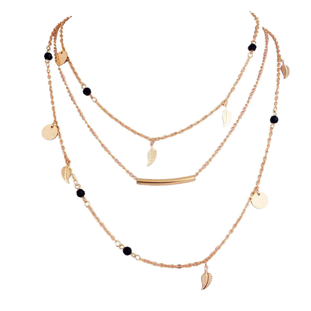 Multi-Layer Strand Boho Gold Plated Chain Necklace