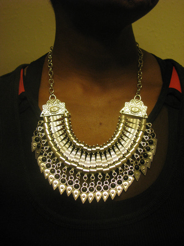Bold Spike Silver Statement Black Gypsy Boho Chic Tribal Bib Choker Necklace