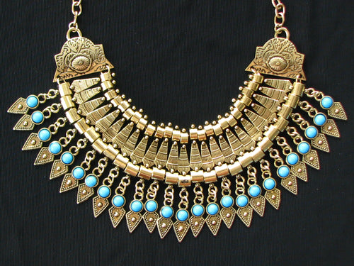 Bold Spike Gold Statement Turquoise Gypsy Tribal Bib Choker Necklace