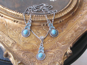 Turquoise Stone Silver Tribal Braid Dangle Earrings and Pendant Necklace Set