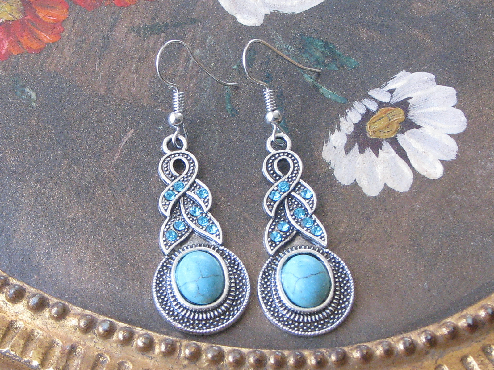 turquoise stone silver tribal braid dangle earrings