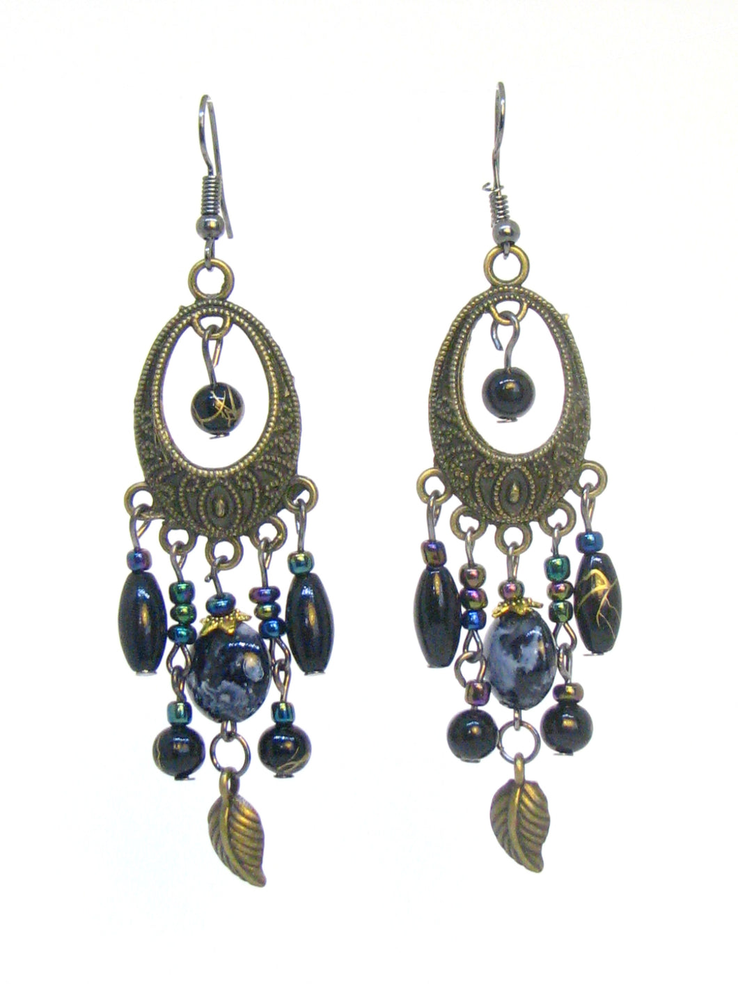 Bohemian Rainbow Oil Slick Chandelier Bronze Long Drop Hook Earrings