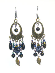 Bohemian Earrings Long Drop Hook Rainbow Oil Slick Chandelier Bronze