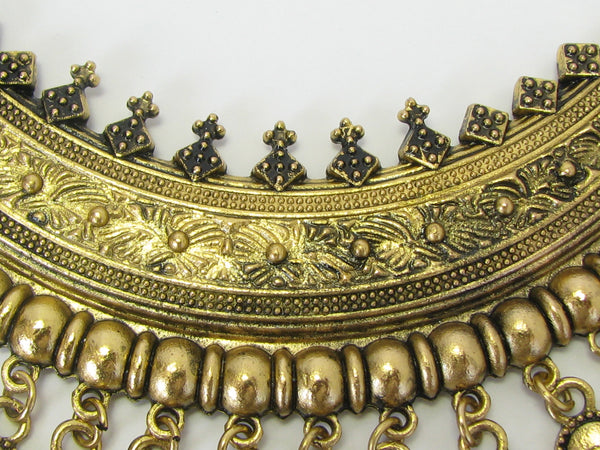 Turkish Gold Coin Metallic Tribal Ethnic Chunky Bib Choker Statement Necklace