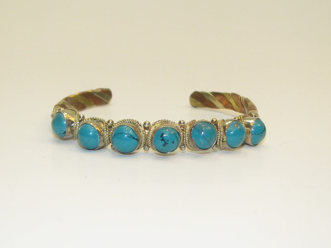 Indian Bead Turquoise Brass Bracelet (Handmade in India)