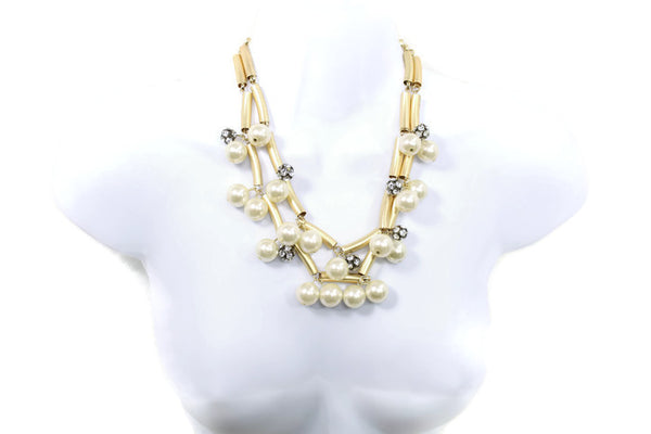 Double Layered Rhinestone Faux Pearl Gold Collar Necklace