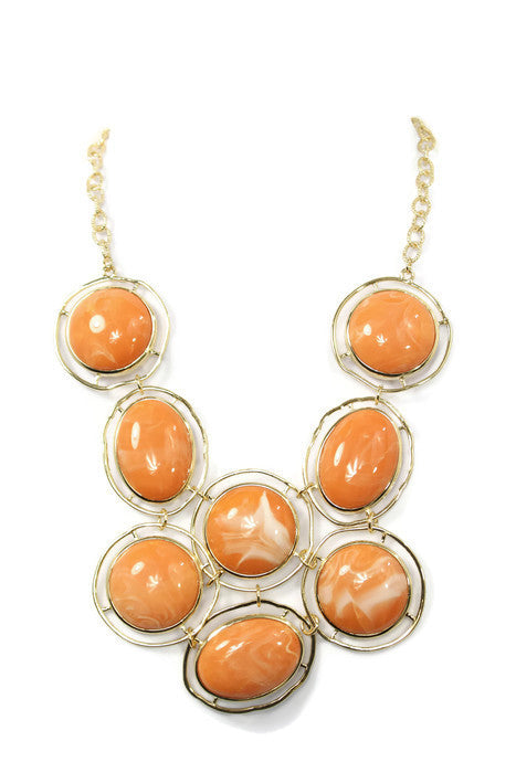 Orange Circle Bead Chunky Gold Chain Statement Necklace