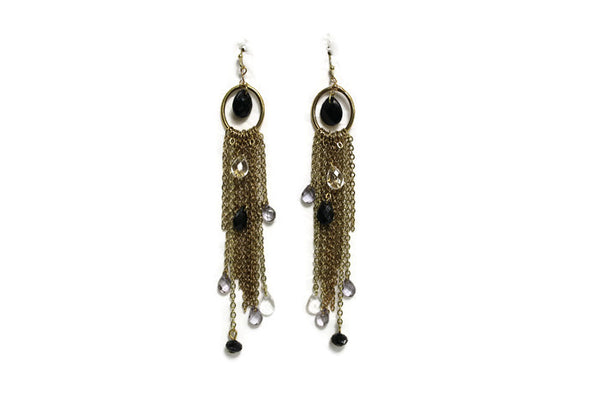 Long Bronze Chain Teardrop Charm Beaded Dangle Earrings