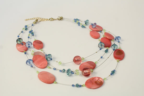 Pink Coral Stone Blue Beaded Multi Strand Bib Necklace