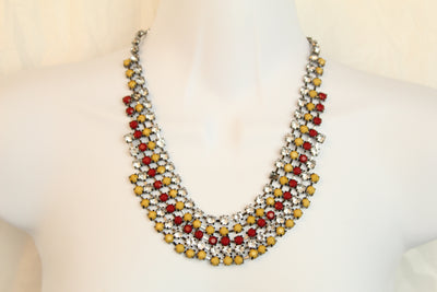 Spike Red Yellow Gold Statement Turquoise Gypsy Tribal Bib Choker Necklace