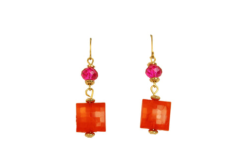 Beach Orange Bead Rhinestone Ladies Drop Dangly Hook Square Design