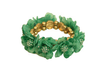 Green Gold Floral Pretty Rose Rhinestone Elastic Stretch Bracelet