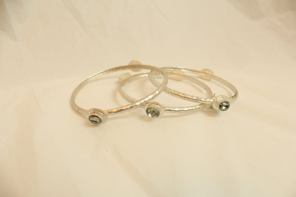 Set of 3 Stacking Bangle Silver Gold Plated Bracelet