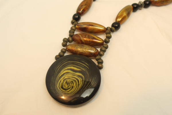 Boho Beaded Brown Chain Necklace With Black Round Pendant