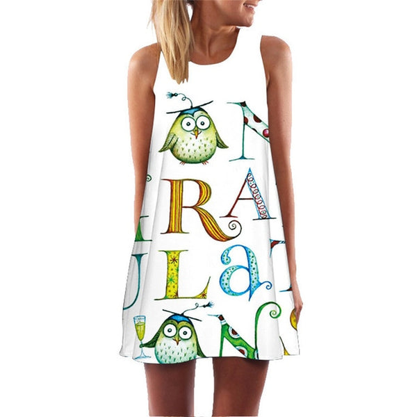 Cute Boho Big Mini Tank Flamingo Sleeveless Sexy Beach Dress