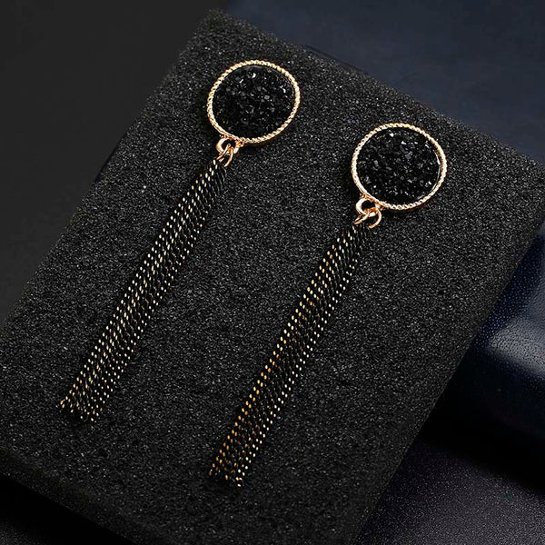 Golden Silver Plated Dangle Hanging Black Rhinestone Long Drop Earrings