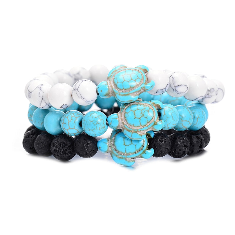 Summer Style Sea Turtle Beads Bracelets 8MM Blue Natural Stone Elastic