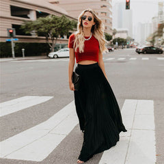Long Pleated Maxi Skirt High Waist