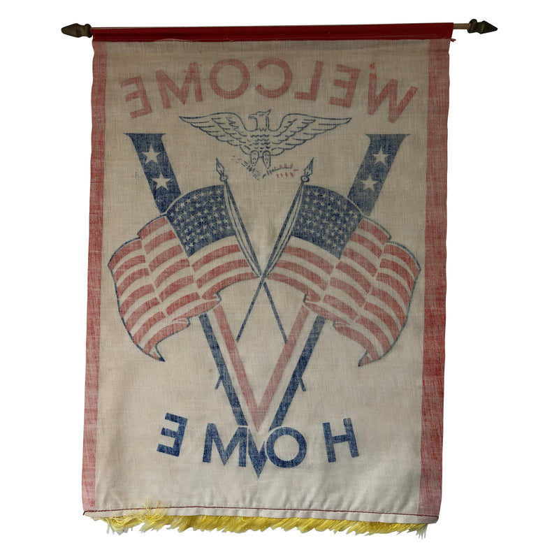 Vintage Antique WWI Victory Banner Welcome Home American Flag