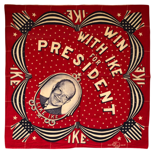 "1952 Dwight D. Eisenhower ""Win With IKE"" Political Bandana"