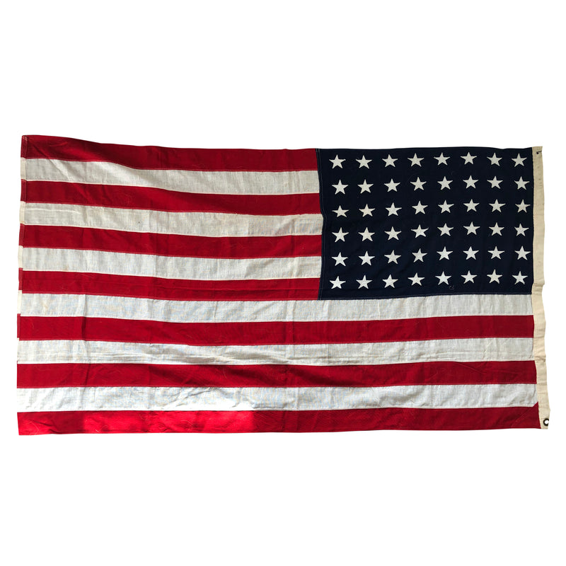 48 Star Flag - Vintage Antique American Flag - Sewn Star & Stripes