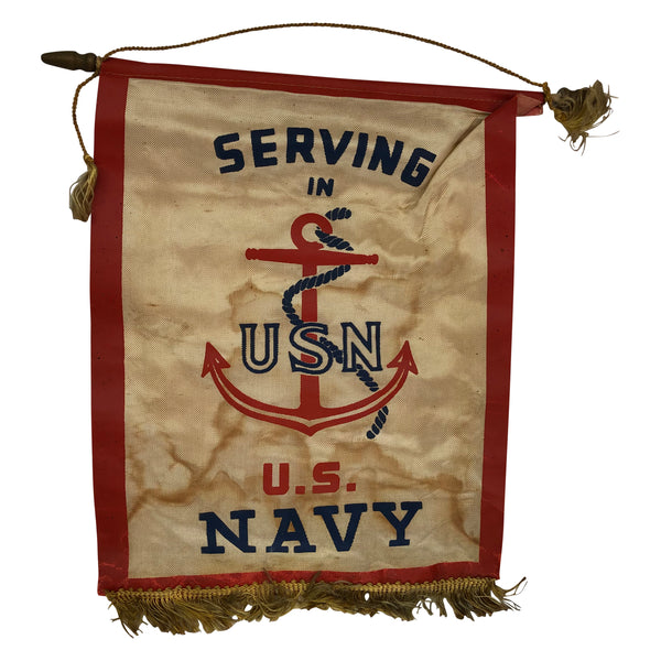 Vintage WWII US Navy Window Banner Serving in US Navy