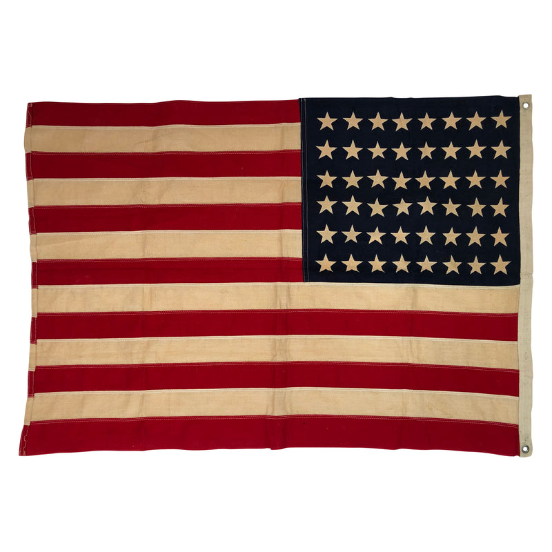 Vintage 48 Star Flag with Printed Stars and Sewn Stripes 2'x3'