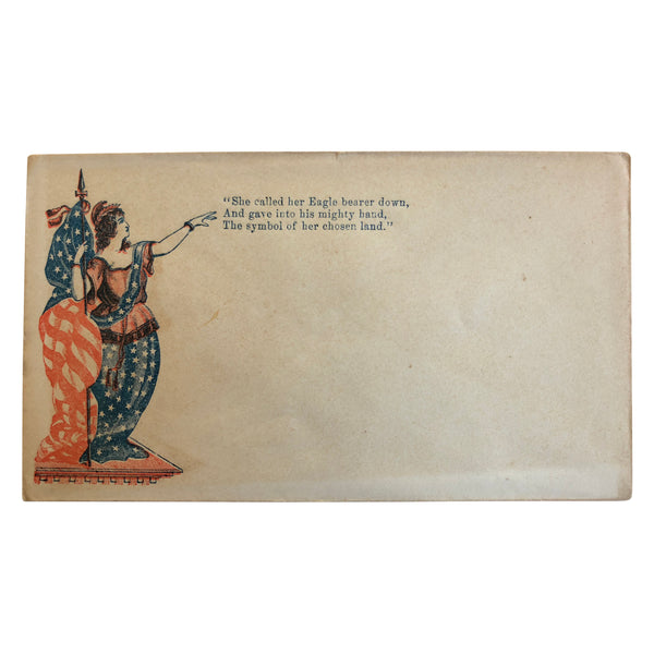 Patriotic Civil War Cover - Lady with Flag and Stars