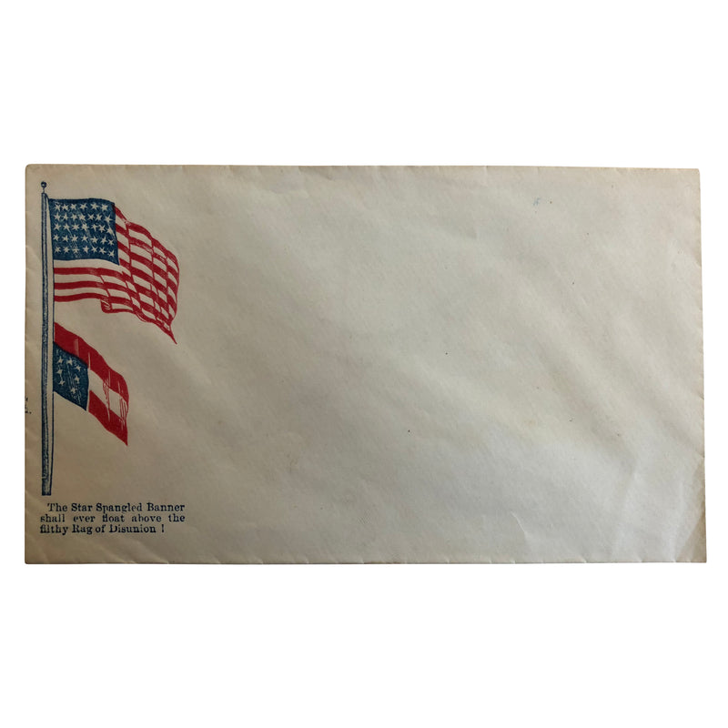 Patriotic Civil War Cover - American Flag and Southern Flag