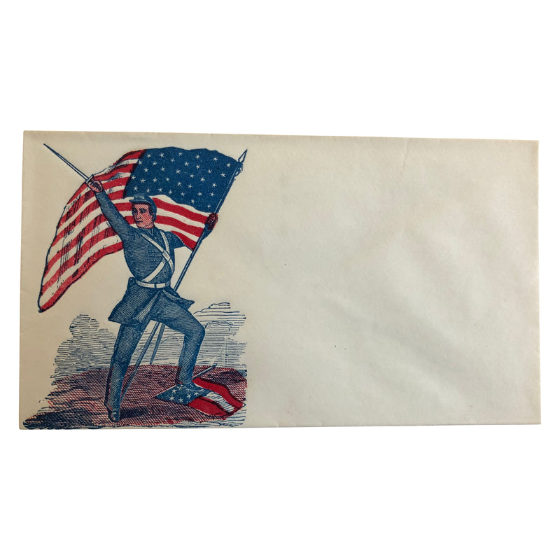 Patriotic Civil War Cover - Union stepping on Southern Flag