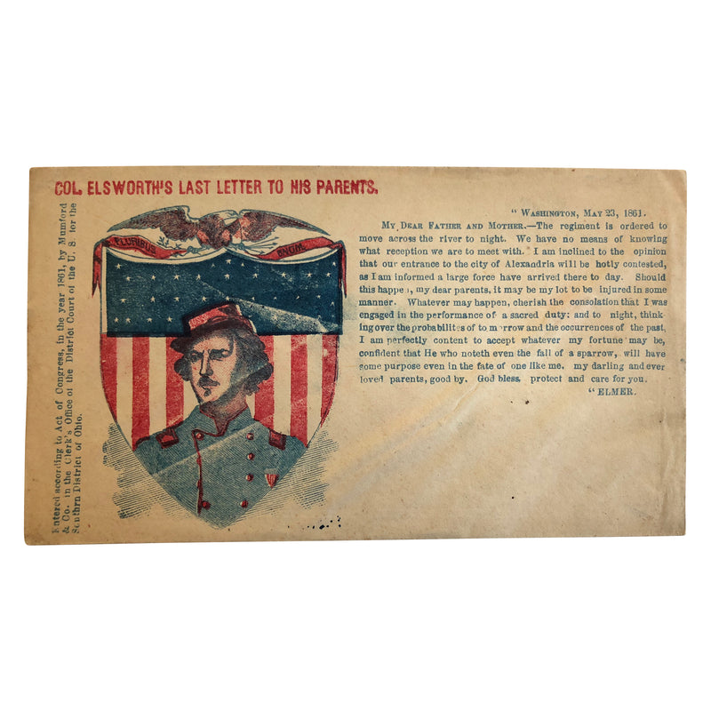 Patriotic Civil War Cover - Col Elsworth's Last Letter to his Parents