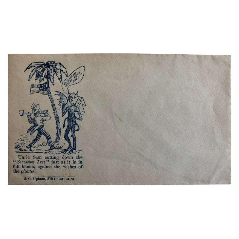 Patriotic Civil War Cover - Southern Flag with Uncle Sam Cutting Secession Tree