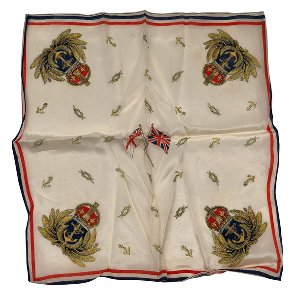 Vintage UK Navy Crest on Handkerchief