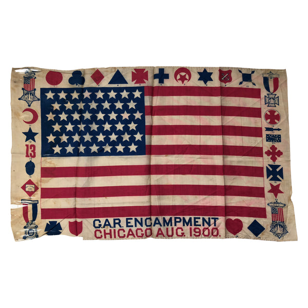 GAR 45 Star Flag Silk Souvenir of 1900 Grand Army of the Republic  Reunion (Rare)