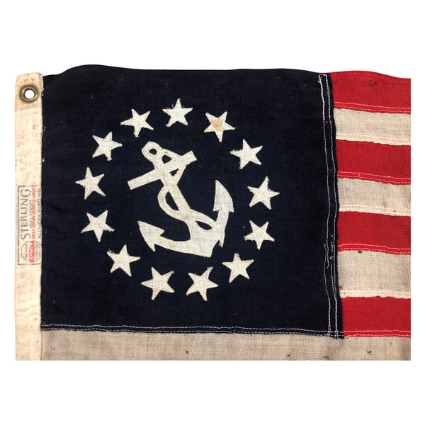 Vintage Yacht Ensign US Flag - 13 Sewn Star Anchor & Stripes - Sterling