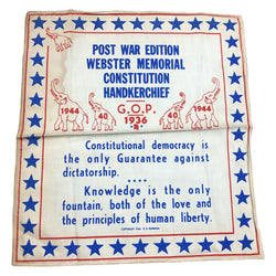 Post War Edition Webster Memorial Constitution Handkerchief