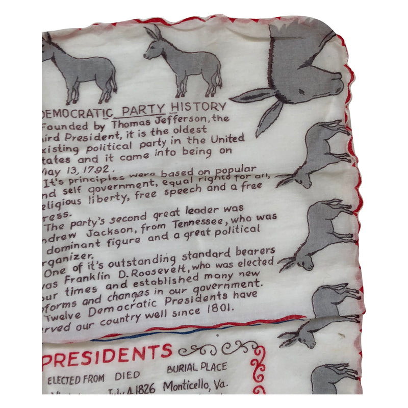 Vintage Democratic Party Handkerchief - Circa 1963