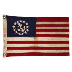 Vintage Yacht Ensign US Flag - 13 Sewn Star Anchor & Stripes