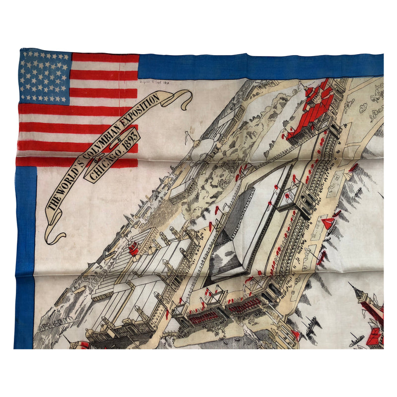 The World's Columbian Exposition Chicago 1893 Worlds Fair Map on Silk Fabric