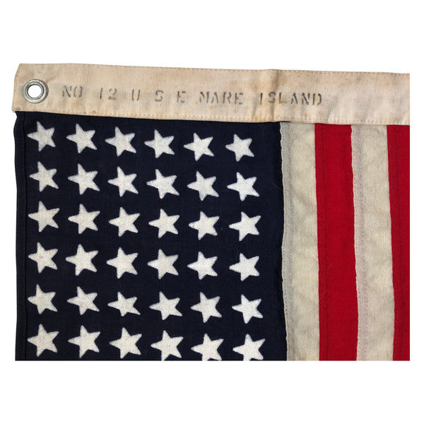 48 Star Flag, Vintage Ensign No. 12 US Mare Island WWII Flag Rage Size