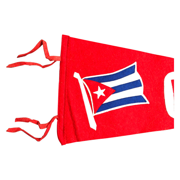 Vintage Felt Cuba Pennant Cuban Flag, Red White and Blue