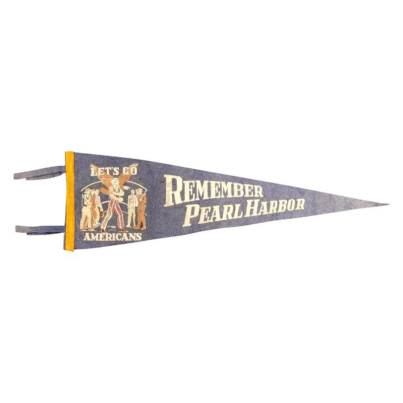 Vintage WWII Remember Pearl Harbor Pennant Flag