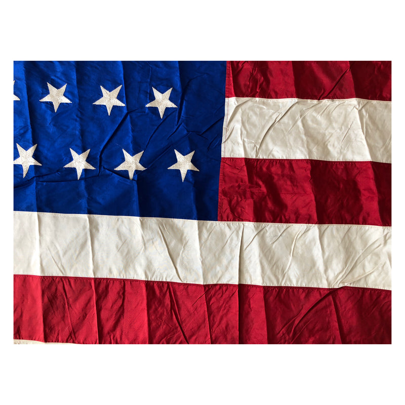 45 Star Flag - Antique Vintage American Flag - Gold Fringe - Utah Statehood