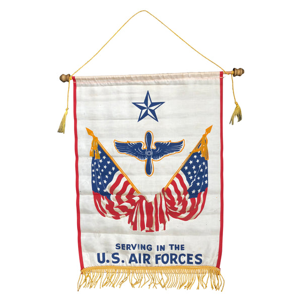 Original WWII Serving In the U.S. Air Force Window Banner