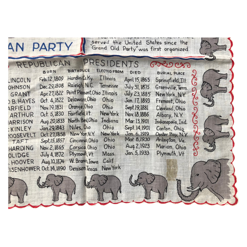 Vintage GOP Republican Party Elephant Party Handkerchief Presidents